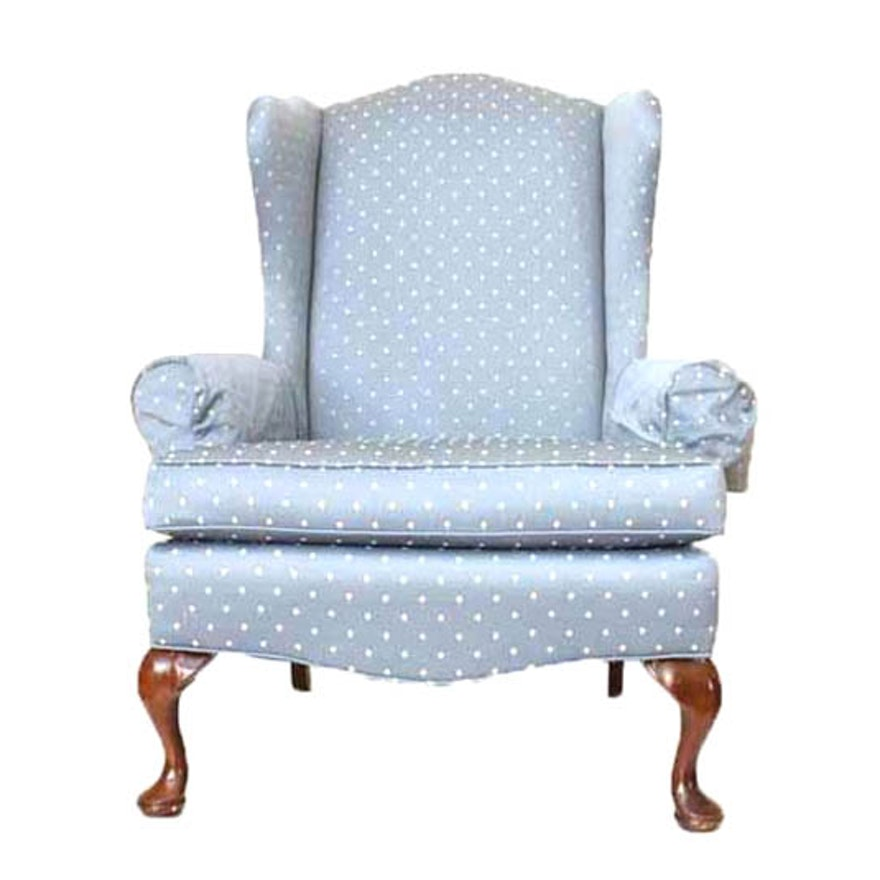 Upholstered Light Blue Pennsylvania House Wingback Chair Ebth