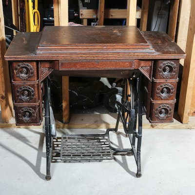 Early 20th Century Sewing Table - Online Furniture Auctions Vintage Furniture Auction Antique