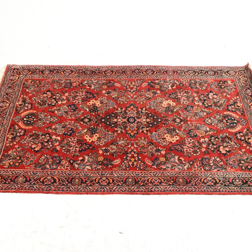 Hand Knotted Indo Persian Obeetee Wool Area Rug Ebth: Hand-Knotted Persian Sarouk Area Rug : EBTH