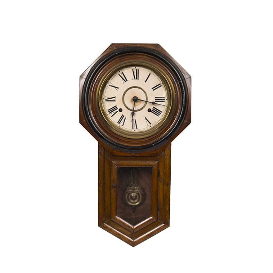 Antique Japanese Oak Wall Clock