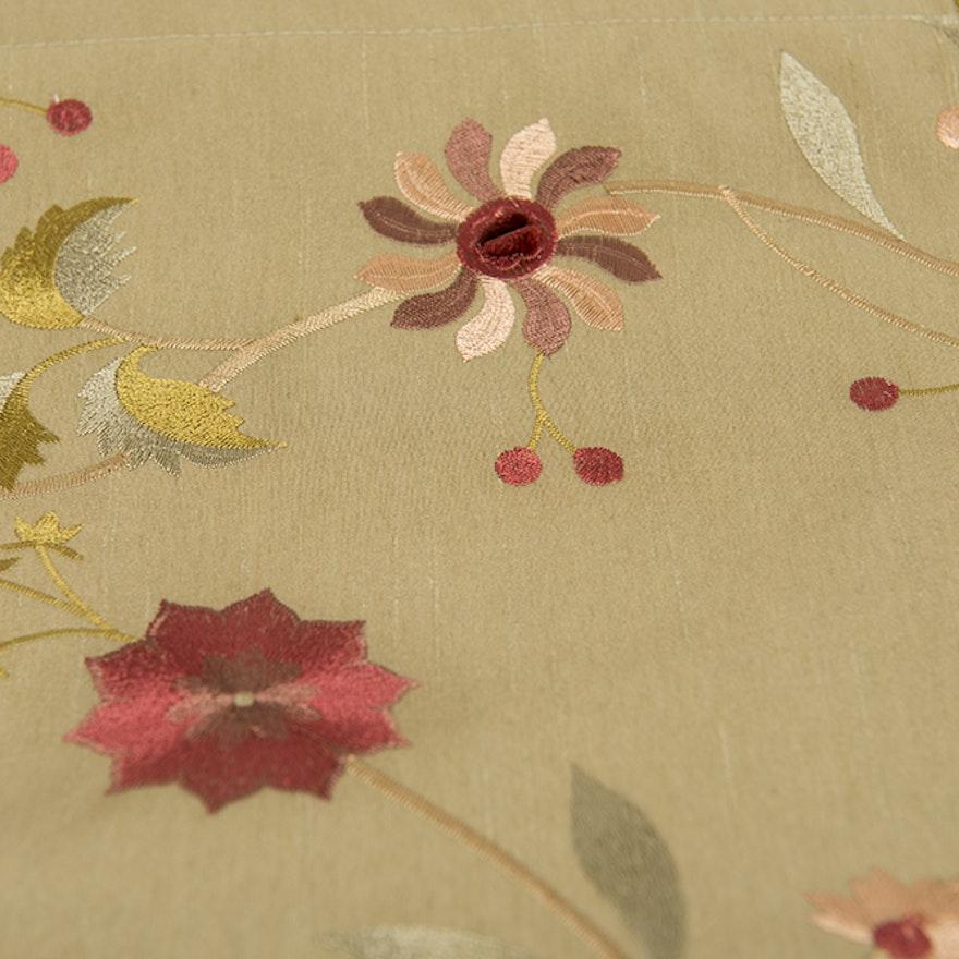 Embroidered Silk Taffeta Curtains