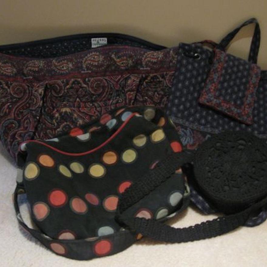 Collection of Fabric Handbags Including Vera Bradley