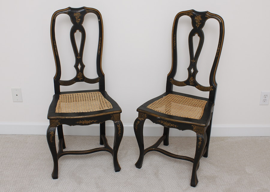 Pair Of Italian Cane Seat Side Chairs