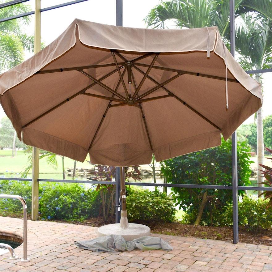 Sun Garden Tan Parasol Umbrella Ebth