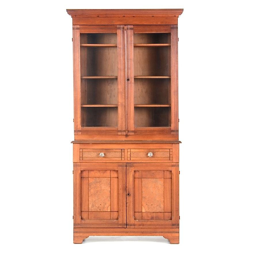 Victorian Eastlake Bookcase On Cabinet