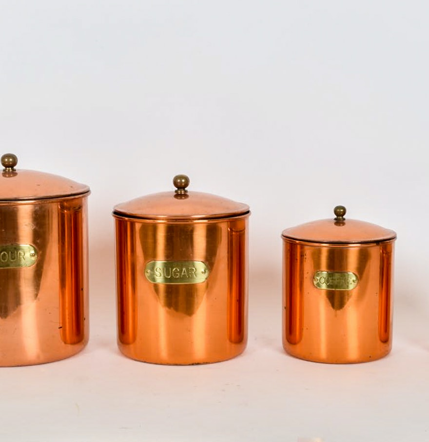 Copper Kitchen Canisters Ebth