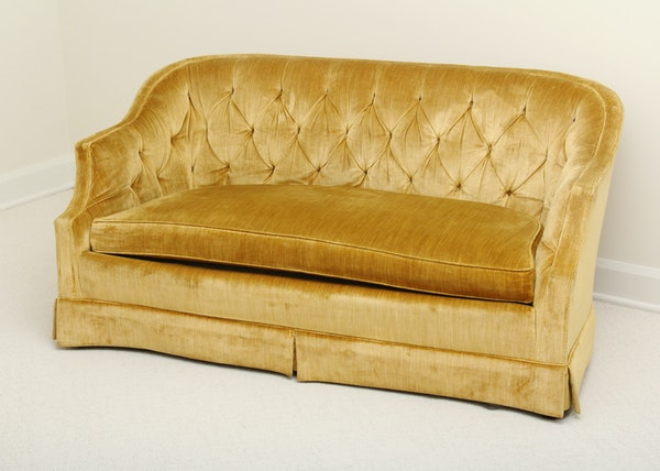 Gold Tufted Back Love Seat Ebth