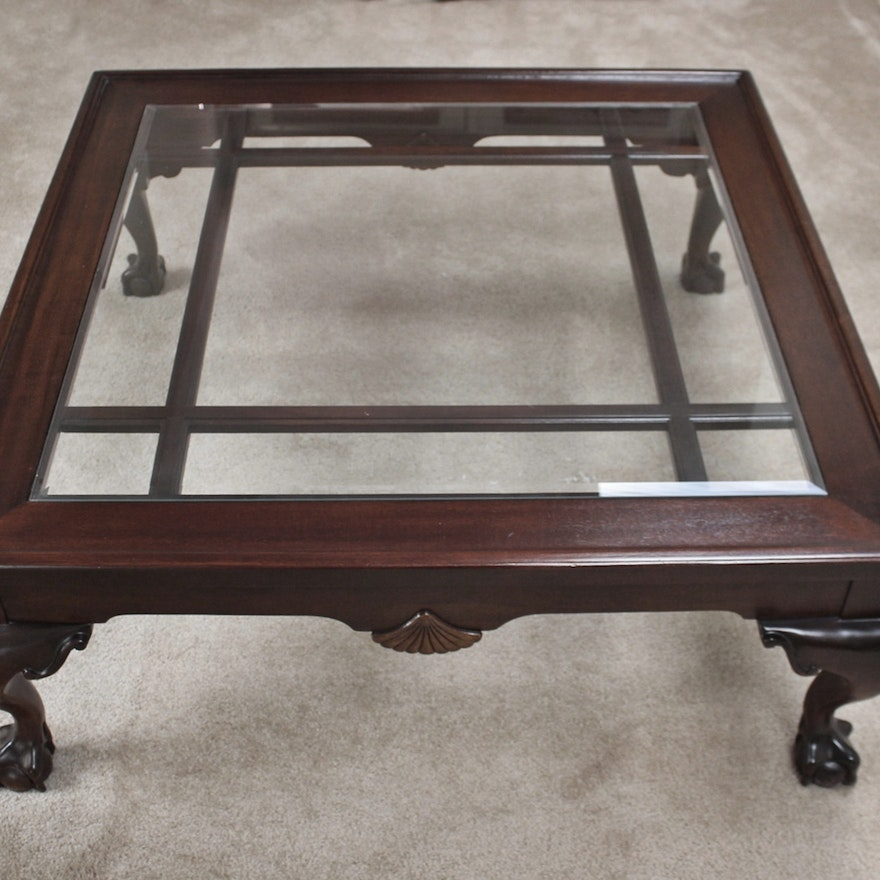Large Cherry Gl Top Coffee Table With Carved Claw Feet