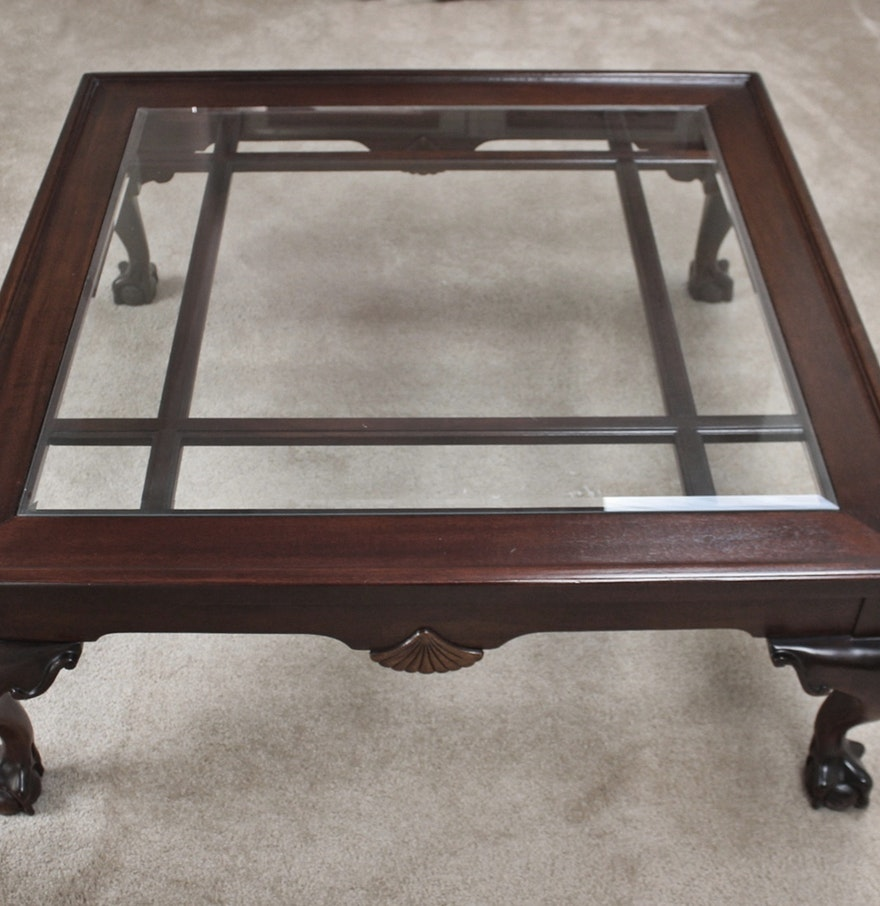 large cherry glass top coffee table with carved claw feet ebth. Black Bedroom Furniture Sets. Home Design Ideas
