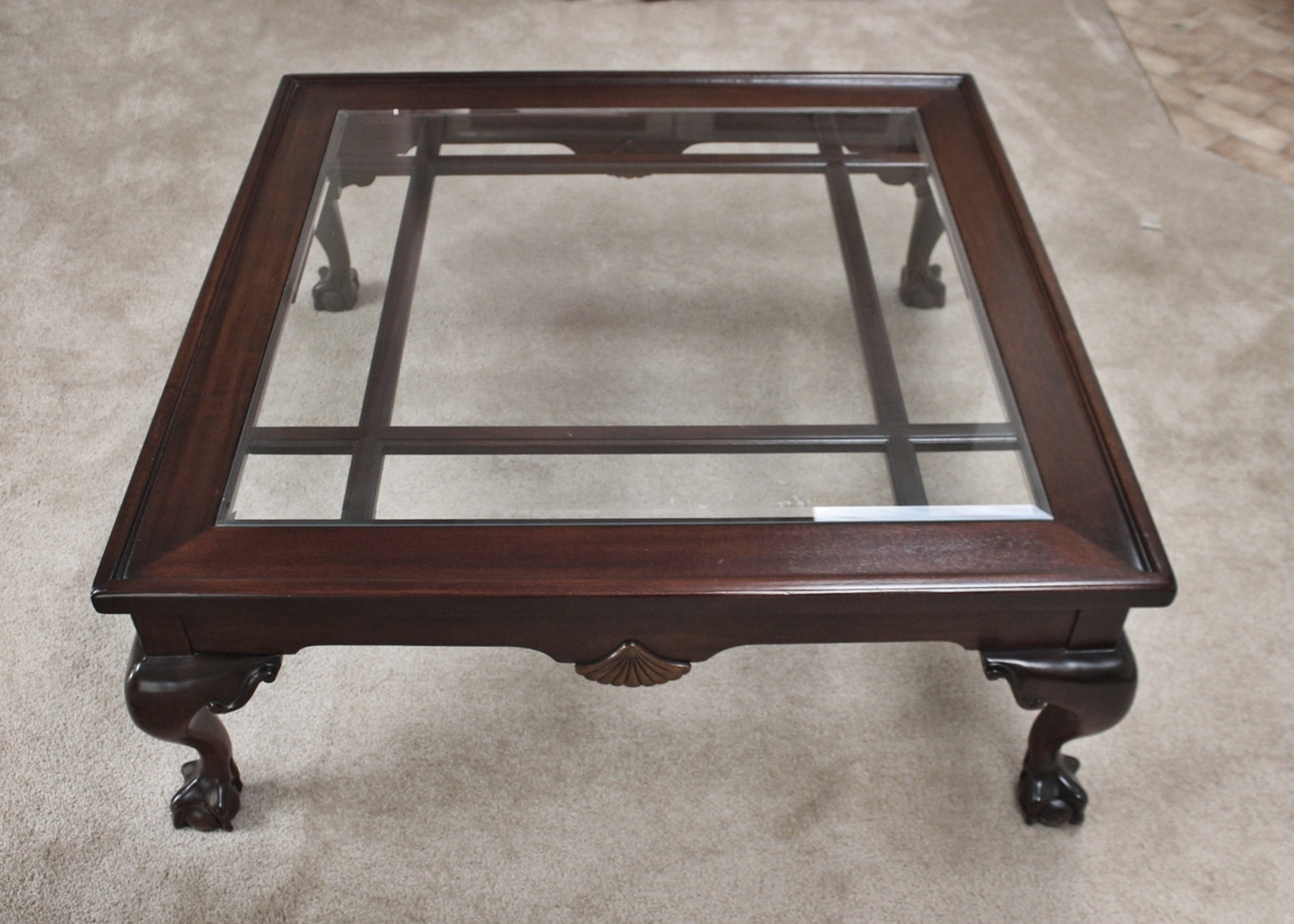 Superieur Large Cherry Glass Top Coffee Table With Carved Claw Feet ...