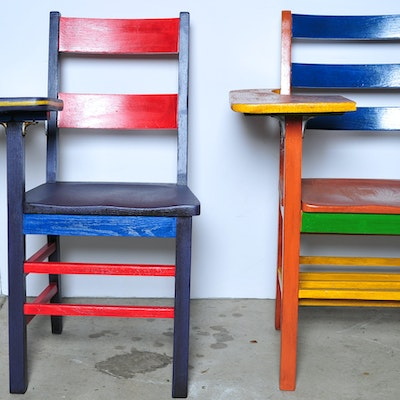 Two Colorful Painted School Desk Chairs - Online Furniture Auctions Vintage Furniture Auction Antique