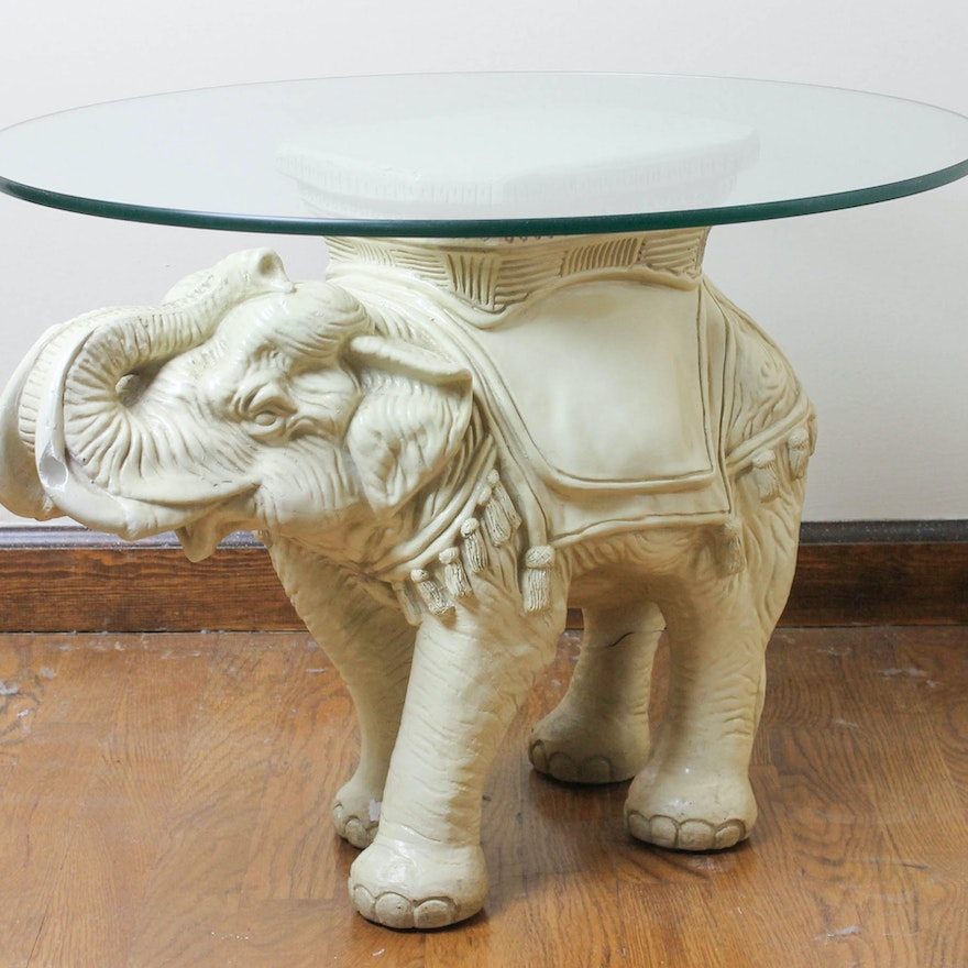 Elephant Table Base And Glass Top : EBTH