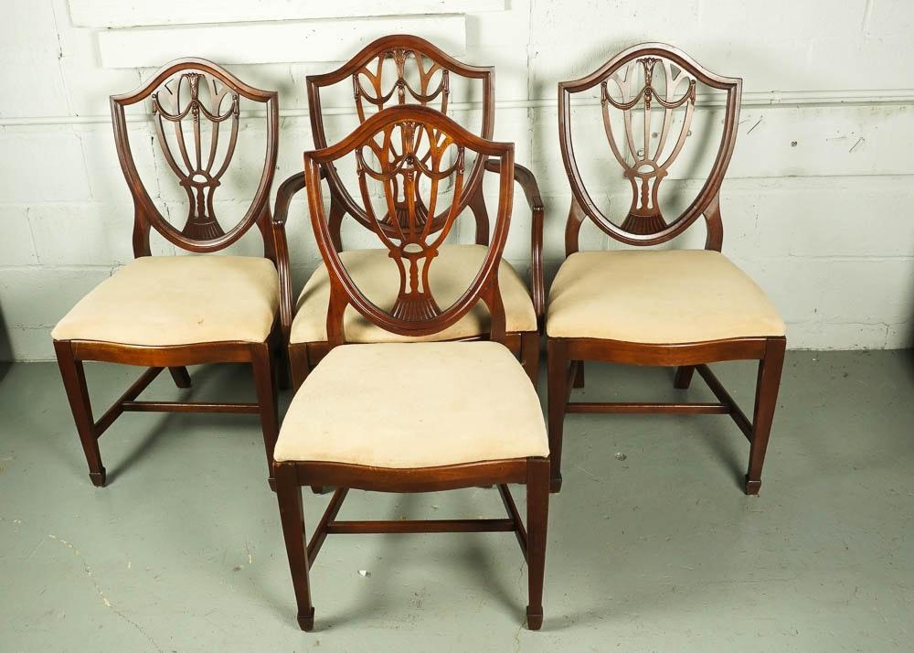 Vintage Hepplewhite Style Shield Back Dining Chair Set Ebth