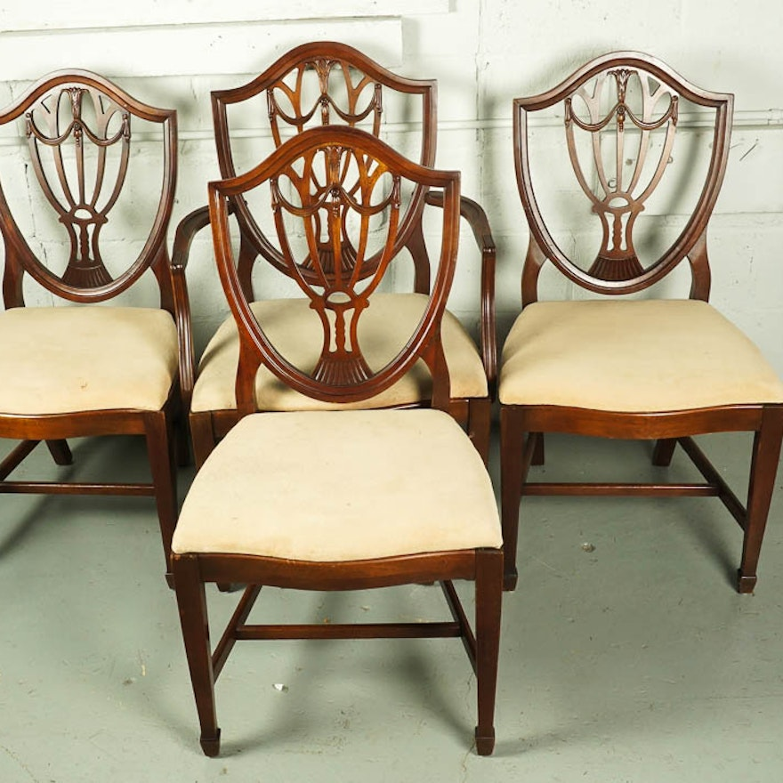 Vintage Hepplewhite Style Shield-Back Dining Chair Set ... - Vintage Hepplewhite Style Shield-Back Dining Chair Set : EBTH