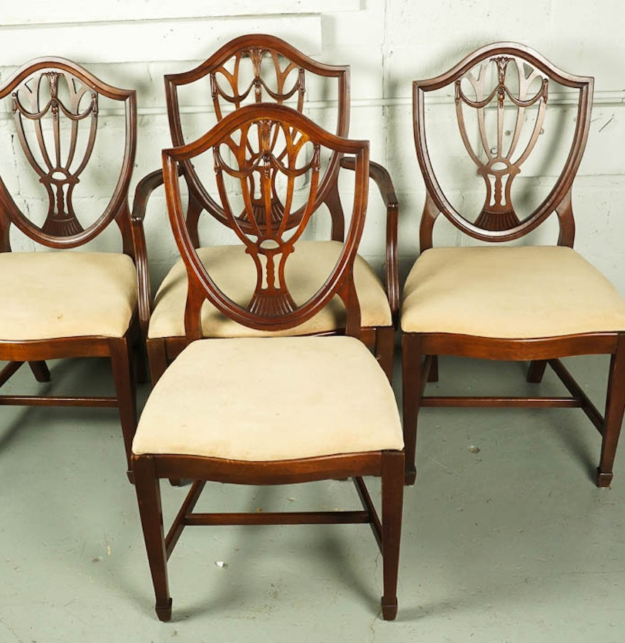 Vintage Hepplewhite Style Shield Back Dining Chair Set Ebth