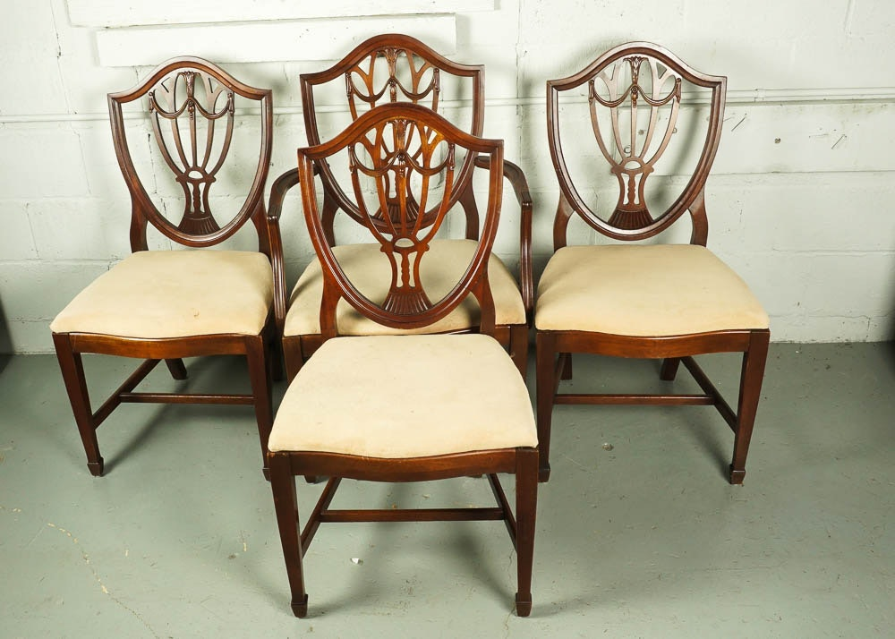 Ordinaire Vintage Hepplewhite Style Shield Back Dining Chair Set ...
