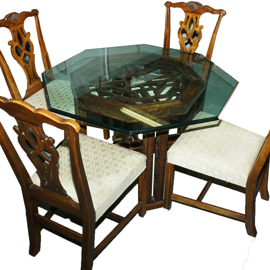 Chinese Chippendale GLass Top Dining Table and Chippendale ...