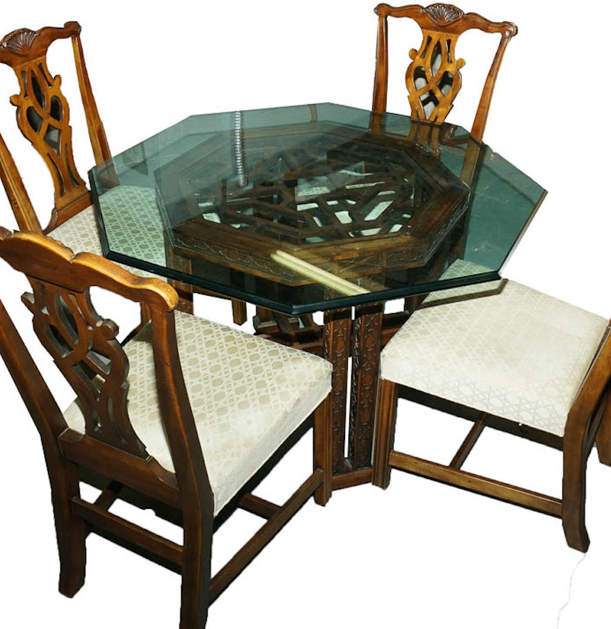 Chinese chippendale glass top dining table and chippendale for Best dining tables 2015