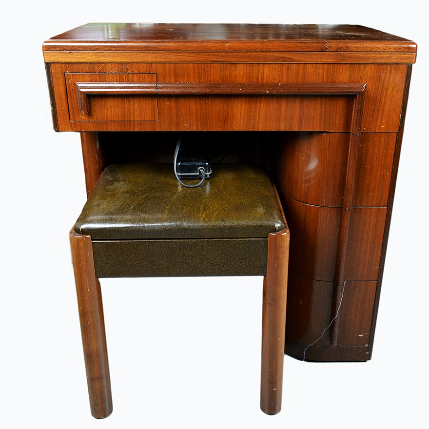 Vintage Singer 42 Art Deco Cabinet with Singer Sewing Machine ... - Vintage Singer 42 Art Deco Cabinet With Singer Sewing Machine : EBTH
