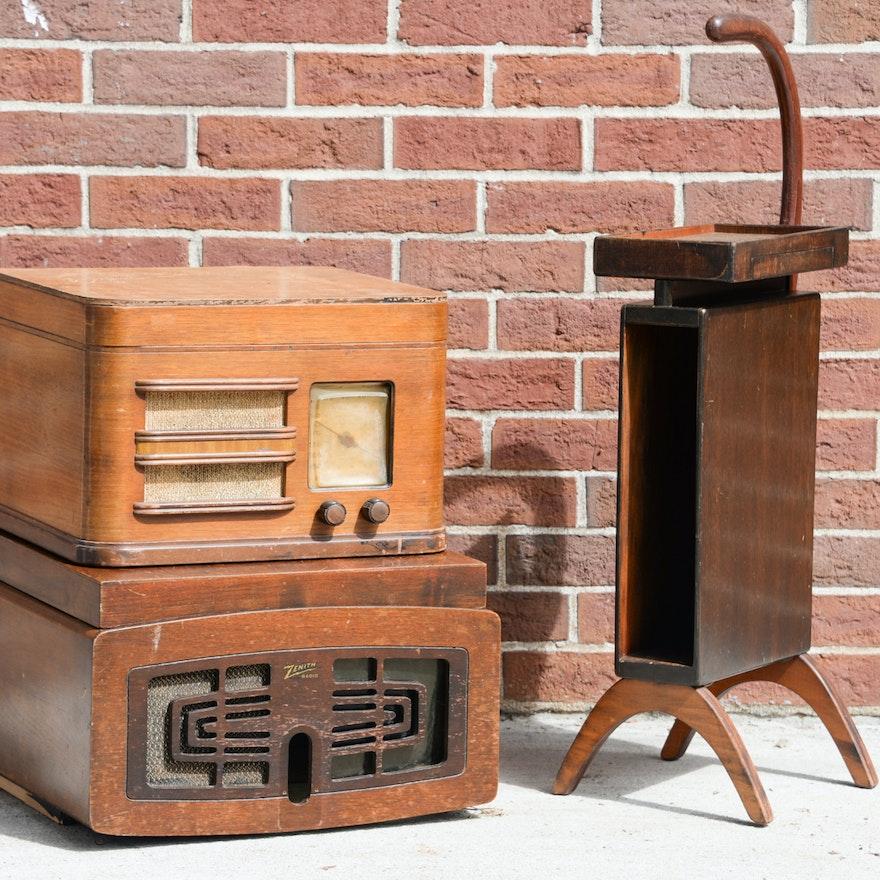 Stylish Vintage Smoking Stand, Vintage Radio, and Radio Case