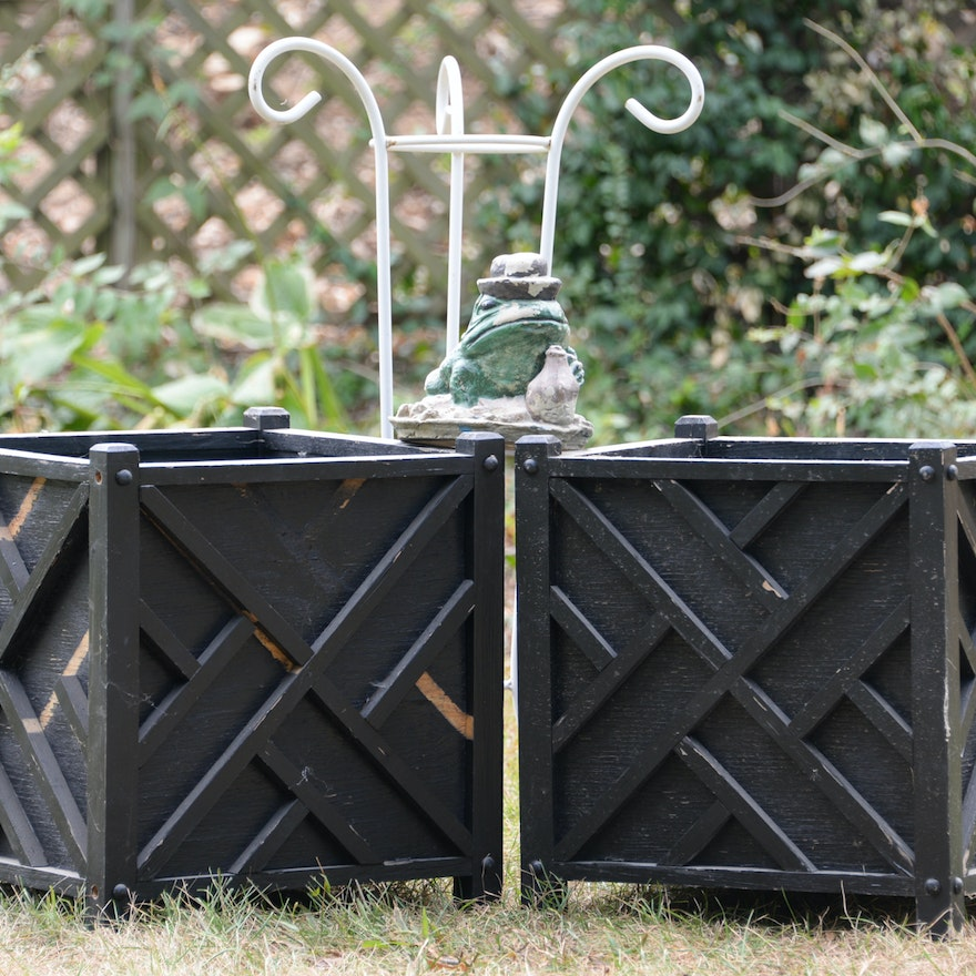 Vintage Frog Lawn Ornament and Chippendale Style Planters