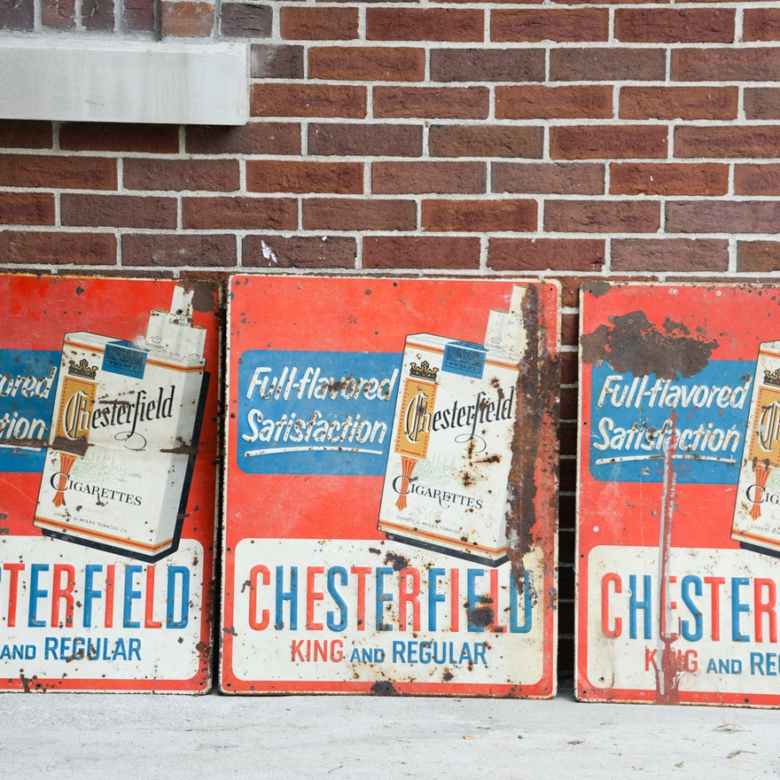 Vintage Chesterfield Cigarettes Metal Advertising Signs