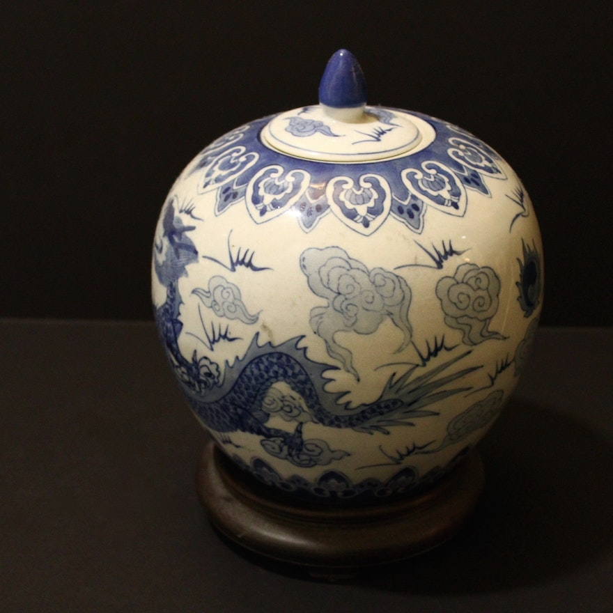 Chinese Dragon Vase With Stand Ebth