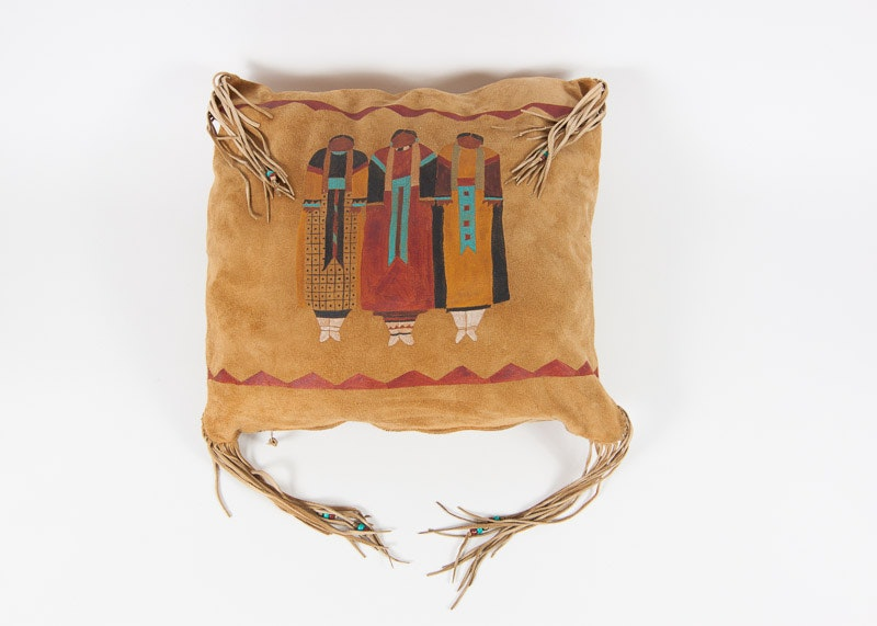 Handmade Leather Pillow With Navajo Indian Designs EBTH