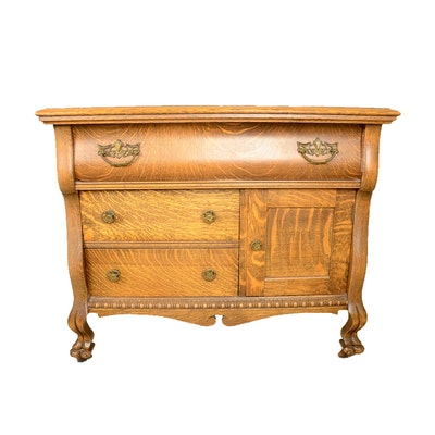 Antique Tiger Oak Wash Stand - Online Furniture Auctions Vintage Furniture Auction Antique