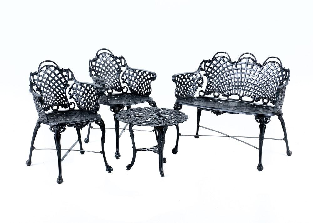 4 Piece Black Wrought Iron Patio Set ...