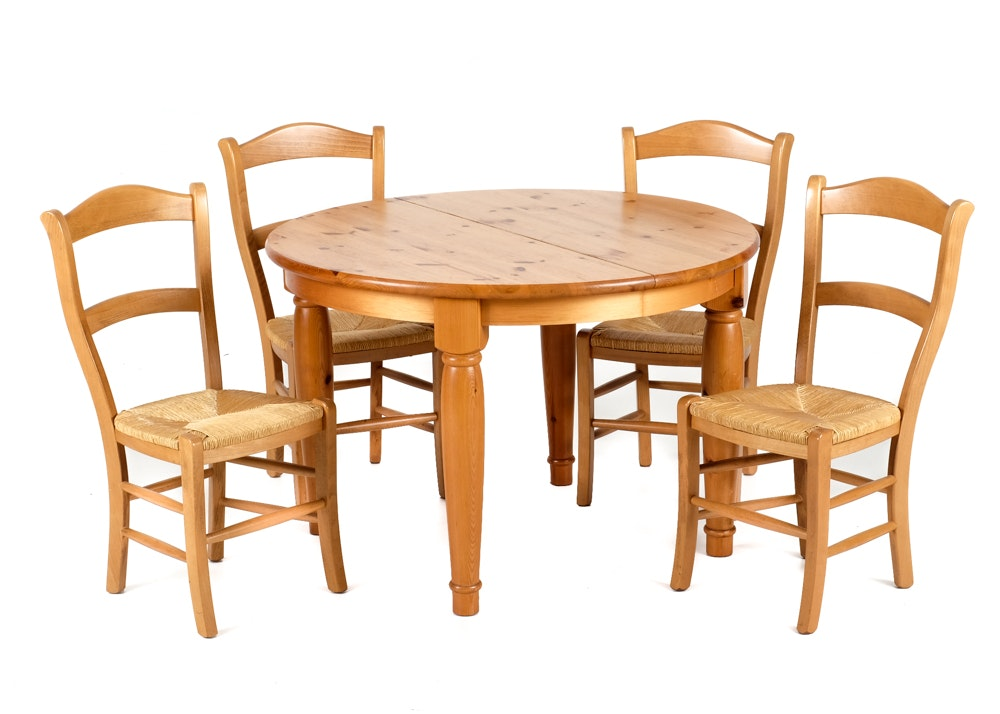 Pottery Barn Pine Dining Table And Four Chairs Ebth