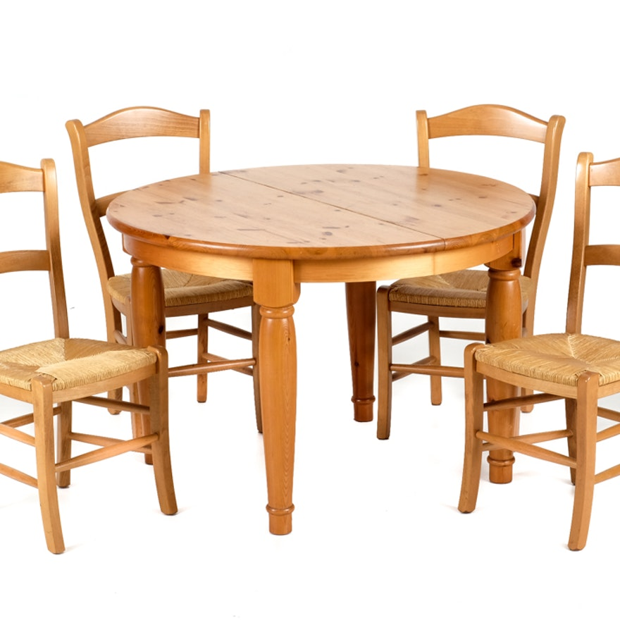 Pottery Barn Pine Dining Table And Four Chairs EBTH - Pottery barn pine dining table
