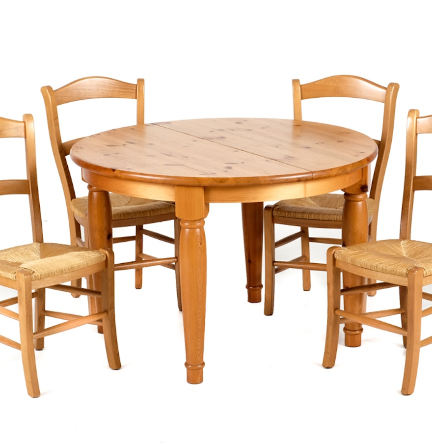 Pottery barn pine dining table and four chairs ebth for Dining table and 4 chairs