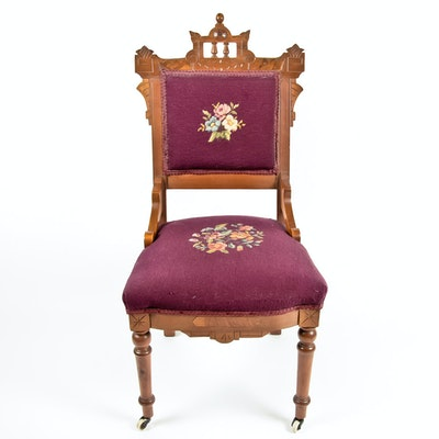 1890s Eastlake Style Victorian Walnut Chair - Online Furniture Auctions Vintage Furniture Auction Antique