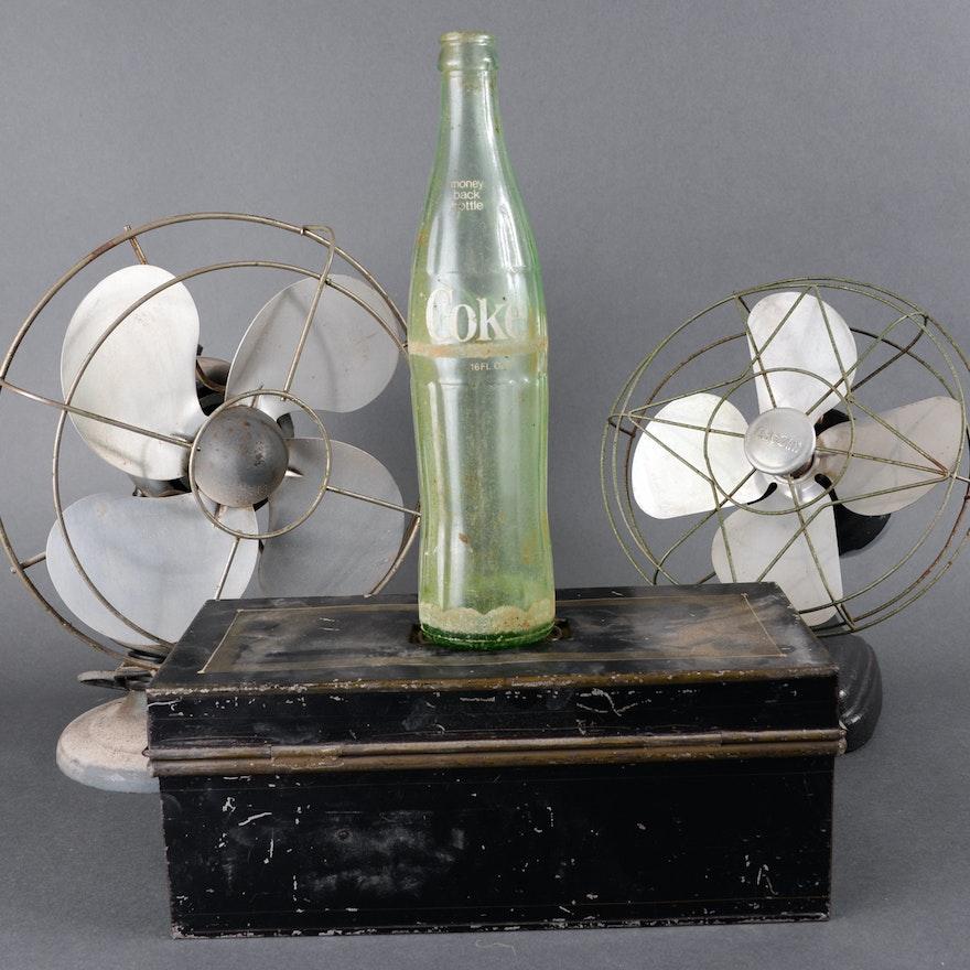 Vintage Fans, Coca-Cola Bottle and Metal Box