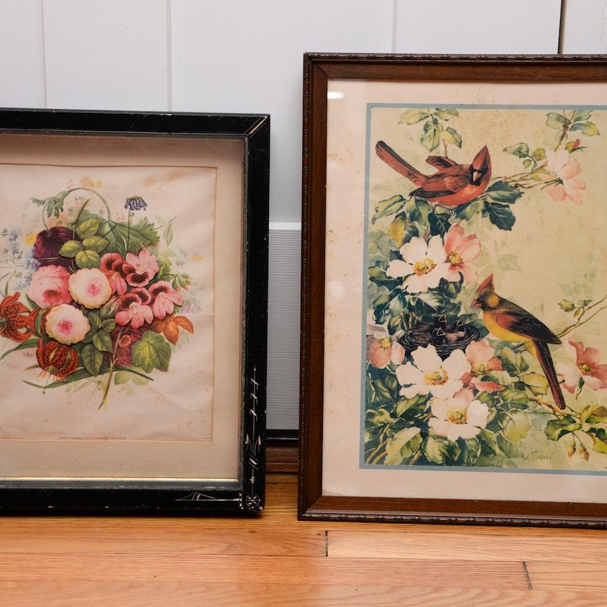 Decorative Vintage Framed Intaglio Prints