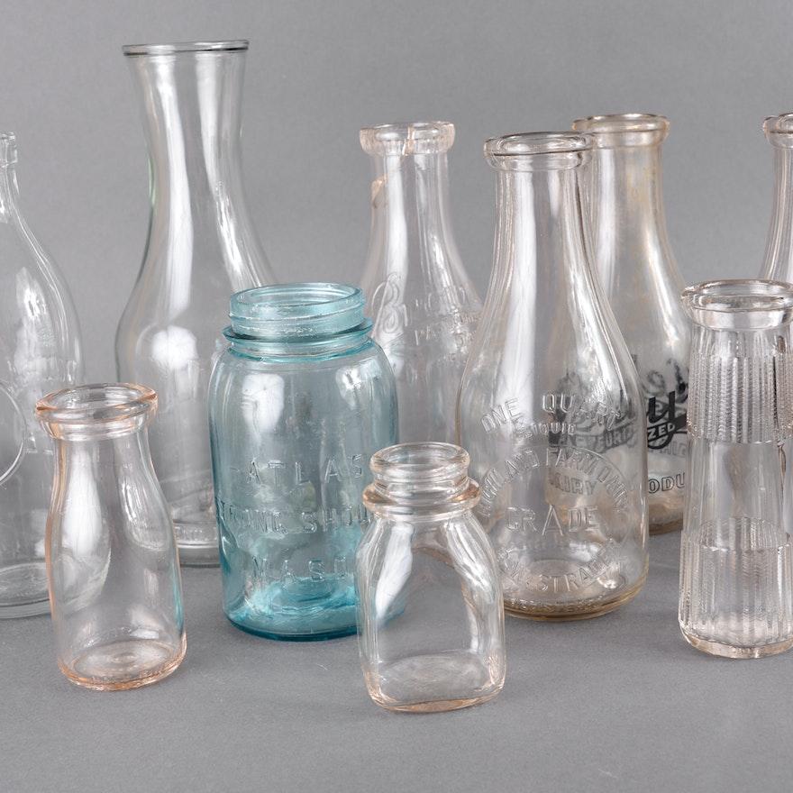 Assortment of Milk Bottles and Jars