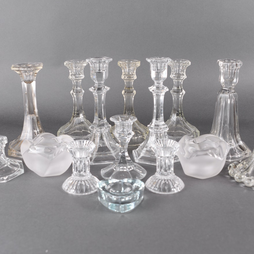 Assortment of Pressed Glass Candleholders