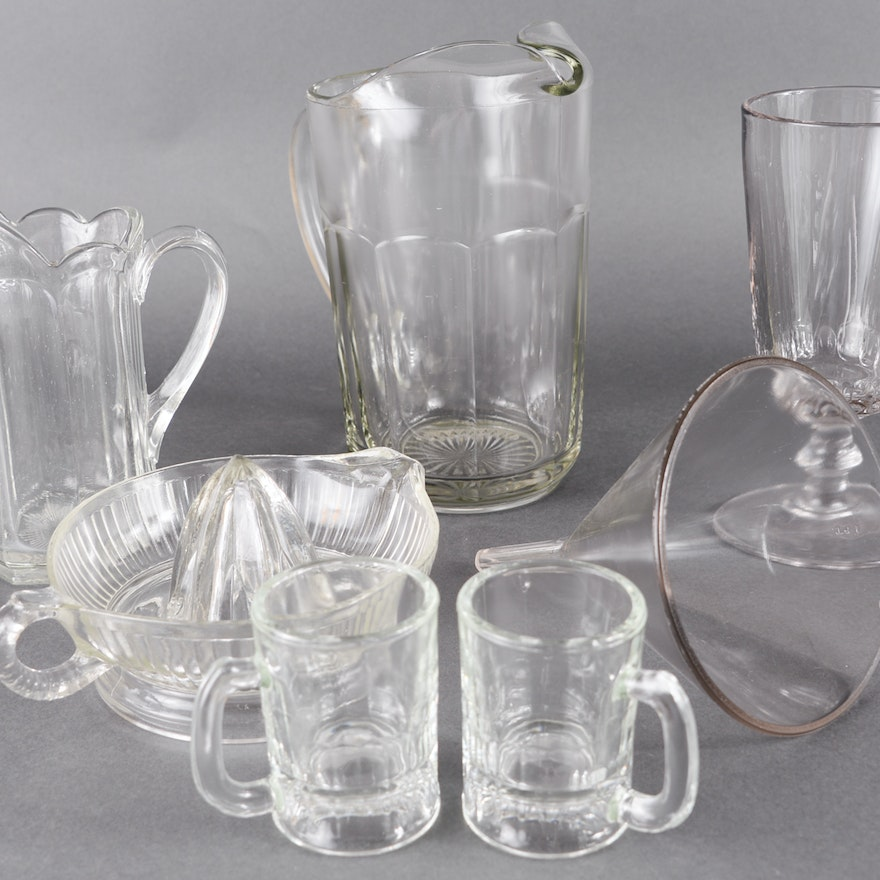 Vintage Pressed Glass Pitchers, Mugs, a Juicer, and a Funnel