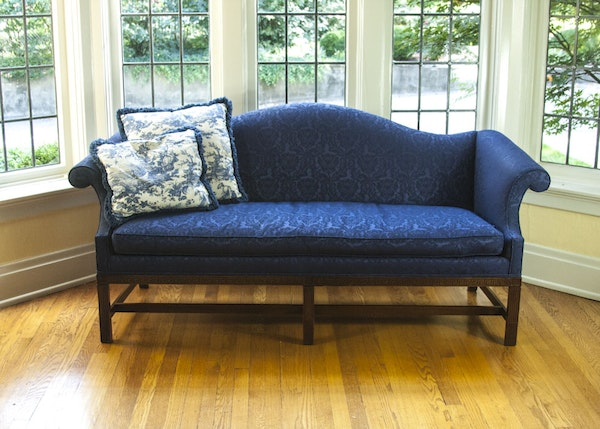 Chinese chippendale style blue sofa by colony house ebth for Chinese style sofa