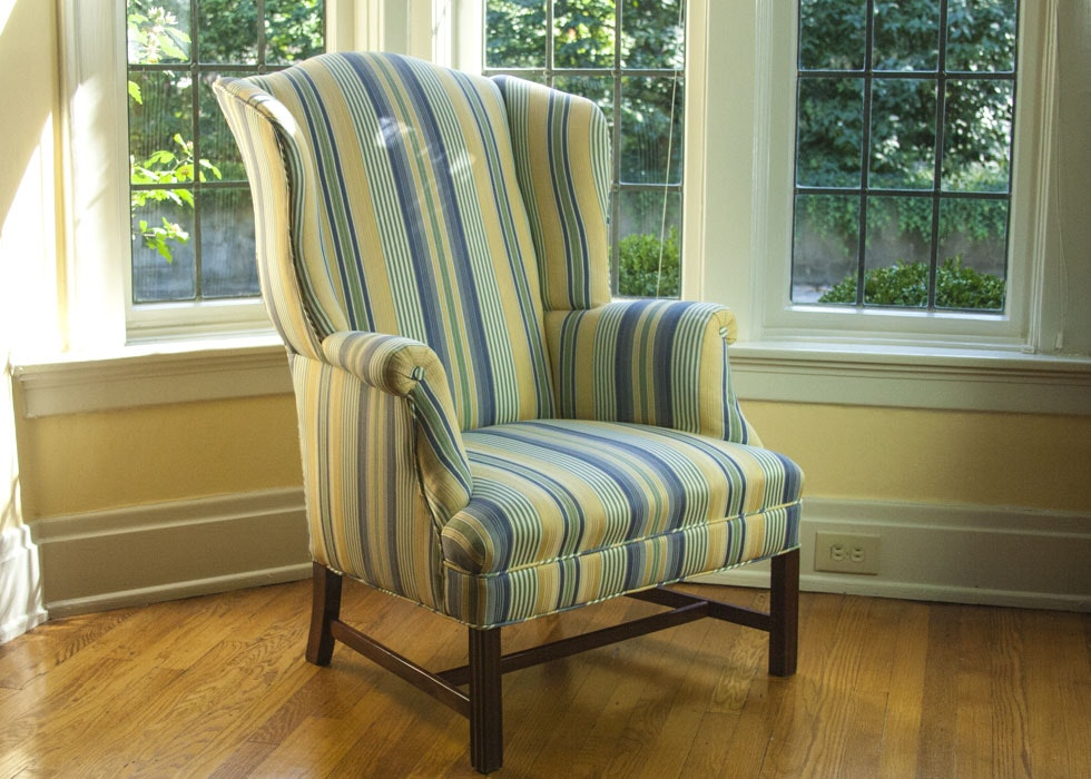 Superb Blue And Yellow Striped Wingback Chair ...