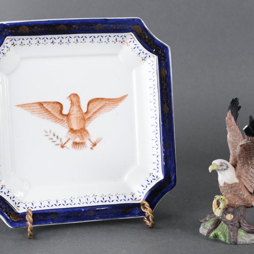 Porcelain Eagle Figurine and Vintage China Plate