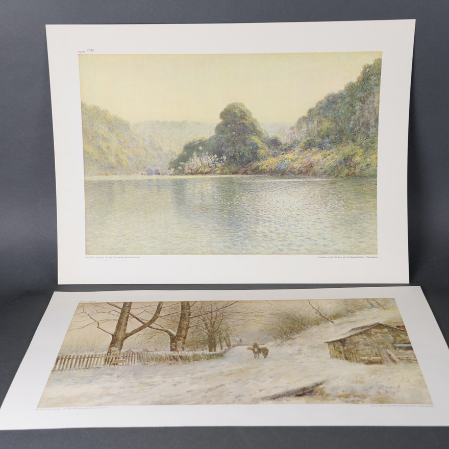 Two Unframed Offset Lithographs After Originals by Paul Sawyier