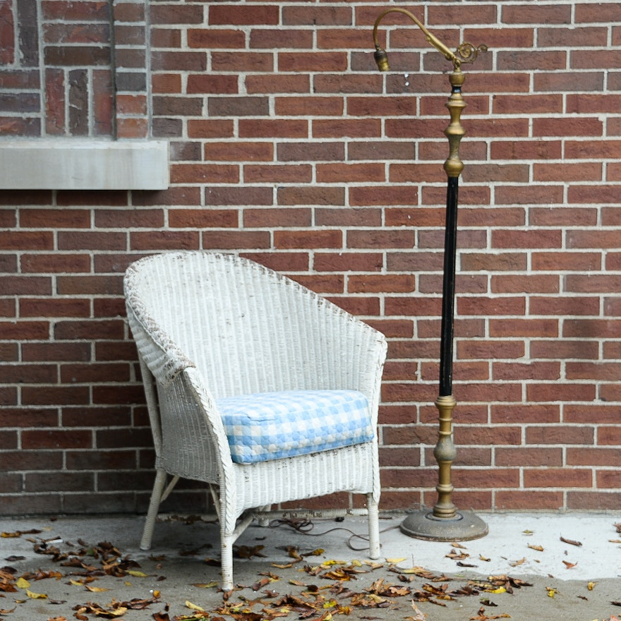 White Wicker Chair and Vintage Standing Lamp