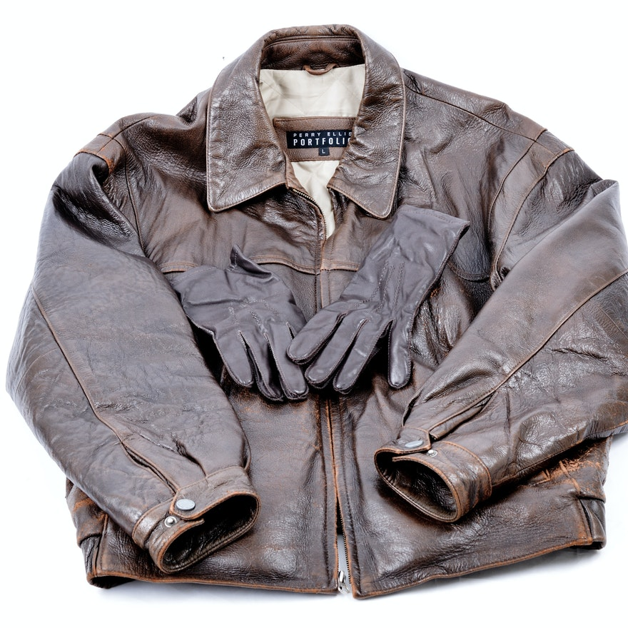 d7db8f60a Perry Ellis Portfolio Men's Leather Bomber Jacket