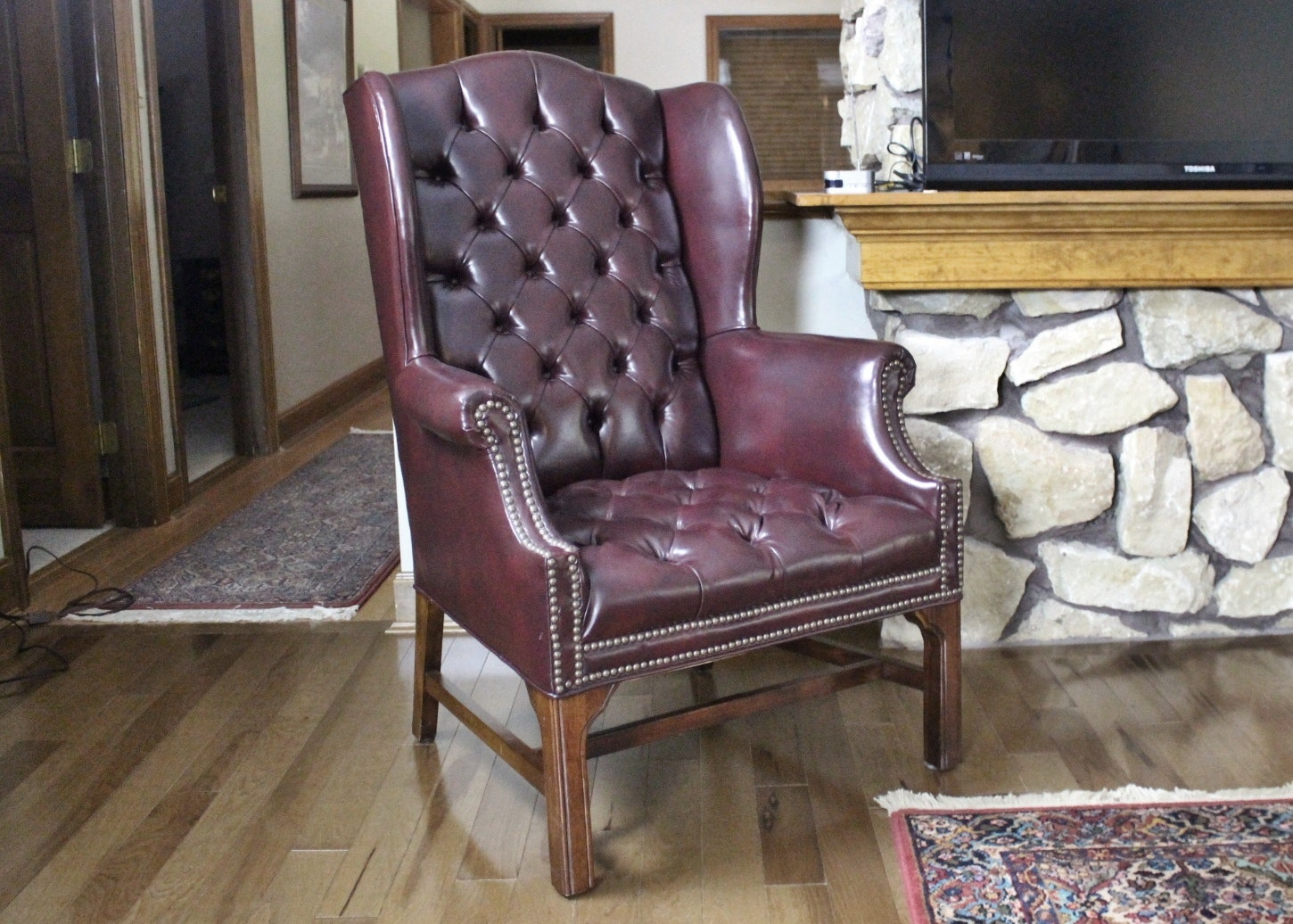 Fairfield Burgundy Leather Wing Back Chair