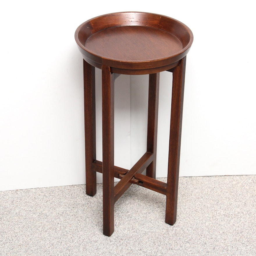 Crate Barrel Cherrywood Collapsible Plant Stand
