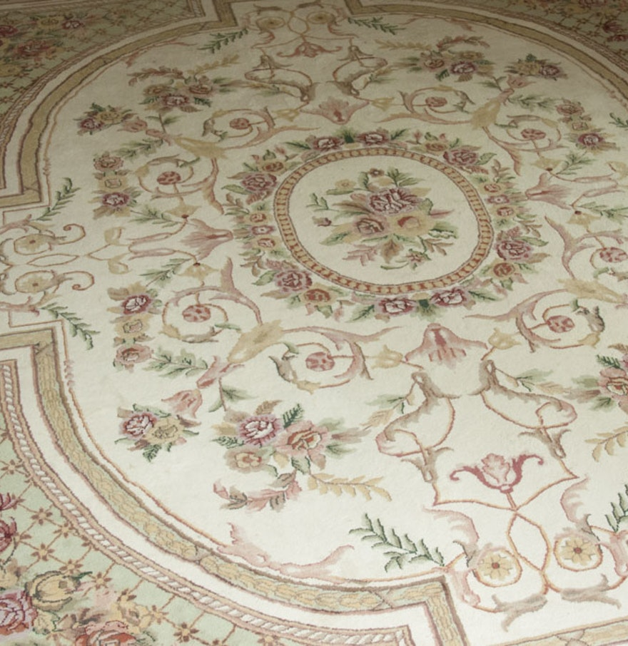 Floral Area Rug With Fringe Ebth