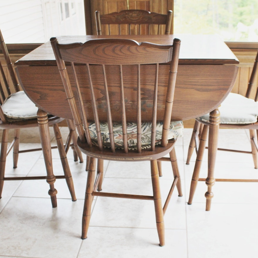 L Hitchcock Stenciled Drop Leaf Table And Four Chairs