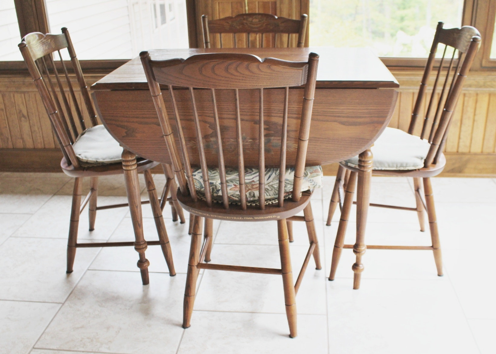 L. Hitchcock Stenciled Drop Leaf Table And Four Chairs ...